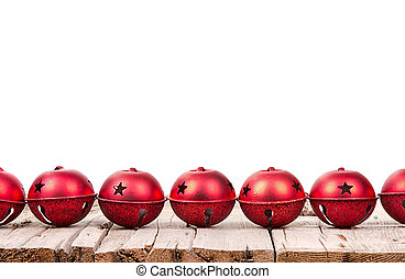 Christmas ornaments on a wooden plank