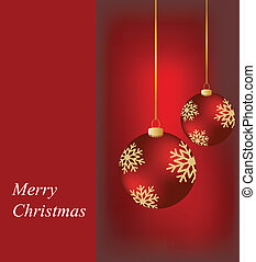 Christmas ornaments on card - Christmas ornaments on a...