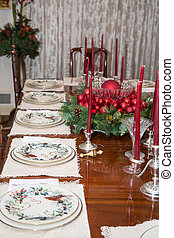 Christmas Ornaments on Dining Table