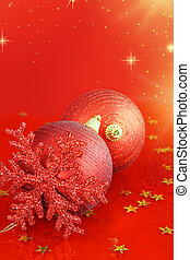 Christmas ornaments on red background