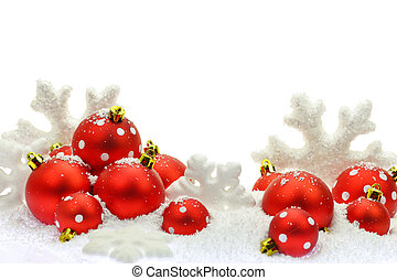 Christmas ornaments on the snow