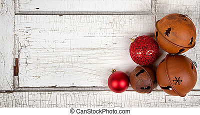 Christmas ornaments on wood panel - Chirstmas ornaments on ...