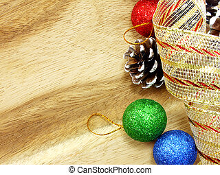 christmas ornaments on wooden background copy space for your text