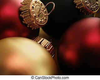 Christmas Ornaments - Extreme closeup of Christmas ornaments...