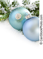 Christmas ornaments - Two Christmas decoration in snow with...