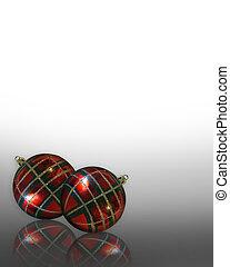 Christmas Ornaments Plaid corner