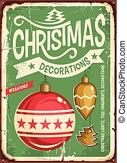 Christmas ornaments sale vintage tin sign