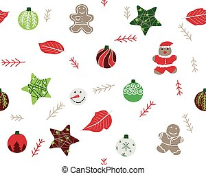 Christmas ornaments seamless patter - Christmas ornaments...