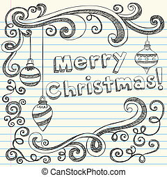 Sketchy Doodle Christmas Holiday Ornaments Vector Illustration Design Elements on Lined Sketchbook Paper