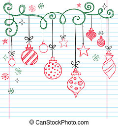 Christmas Tree Ornaments Sketchy Notebook Doodles- Vector Illustration Design Elements on Lined Sketchbook Paper Background