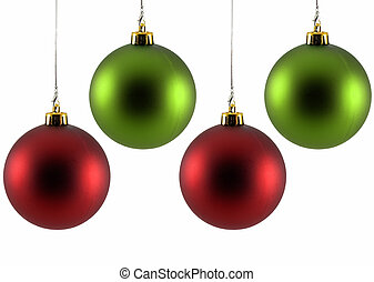christmas ornaments two red and two green christmas ornaments isolated on white