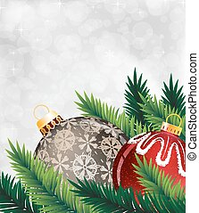 Christmas ornaments - Pine branches with Christmas ornaments...
