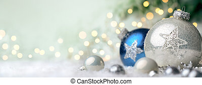 Christmas ornaments with copyspace - Panoramic Christmas...