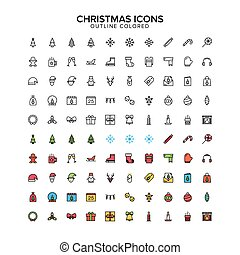 Christmas Outline colored icon set