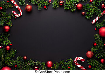 Christmas oval frame on black