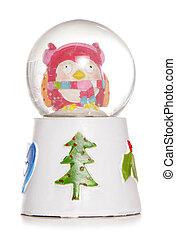 christmas owl snow globe