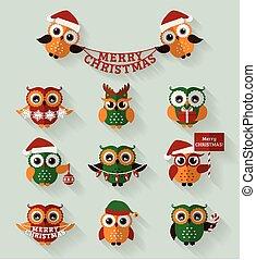 Christmas owls. Flat icons. Vector set.