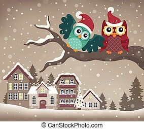 Christmas owls on branch theme