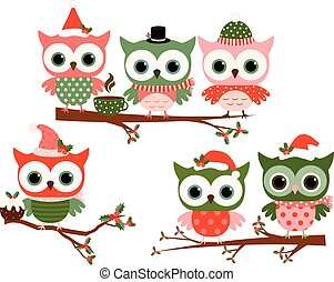 Christmas owls with hats on branches