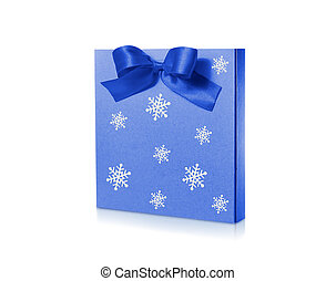 Christmas package with blue ribbon isolated on white background