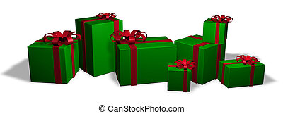 Christmas Packages 1 - Seven wrapped christmas packages in...