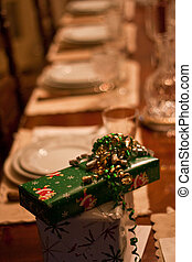 Christmas Packages on Dinner Table