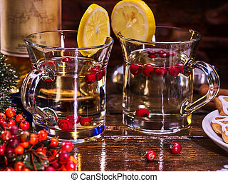 Christmas pair mug decoration lemon slice hot drink.