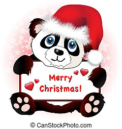 Christmas Panda with heart banner - A cute cartoon panda ...