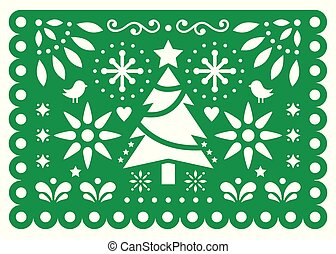 Christmas Papel Picado vector design, Mexican Xmas paper decorations, green and white 5x7 greeting card pattern