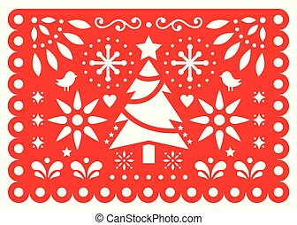 Christmas Papel Picado vector design, Mexican Xmas paper decorations, red and white 5x7 greeting card pattern