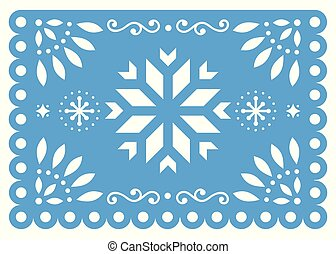 Christmas Papel Picado vector design with snowflake, Mexican winter paper decorations, blue and white 5x7 greeting card pattern