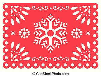 Christmas Papel Picado vector design with snowflake, Mexican winter paper decorations, red and white 5x7 greeting card pattern