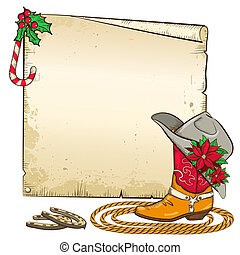 Christmas paper background with horseshoes and cowboy boot...