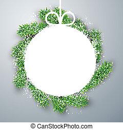 Christmas paper ball on fir branches.
