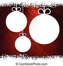 Christmas paper balls on red background.