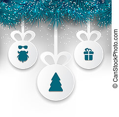 Christmas paper balls with decoration design elements