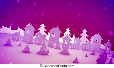 """""""Christmas paper buildings in pink backdrop"""""""
