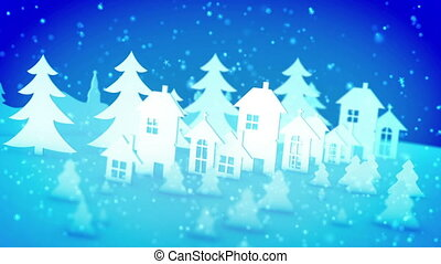 """""""Christmas paper buildings under declining snow"""" - """"Cheerful..."""