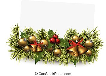 Christmas paper card background with fir twigs.