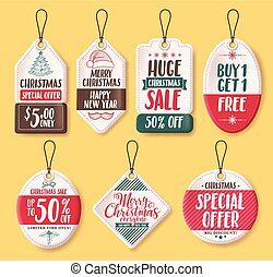 Christmas paper sale tags vector set with discount text