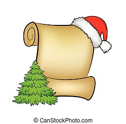 Christmas paper scroll card with santa cap, hat and christmas tree. vector illustration isolated on white background.