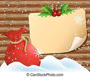Christmas paper signboard with santa bag - Christmas paper ...