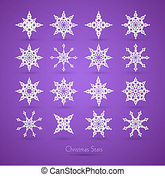 Christmas Paper Snowflakes on Violet Background