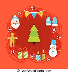 Christmas Papercut Concept. Vector Illustration. Happy New...