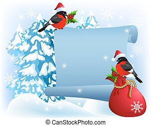 Christmas parchment with bullfinches in Santa Claus hat