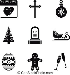 Christmas parties icons set, simple style - Christmas...