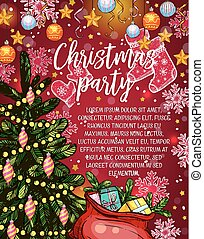Christmas party banner with Xmas tree and gift
