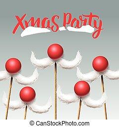 Christmas Party card, Santa moustache