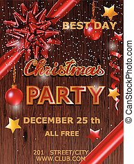 Christmas party design poster with bow. Vector illustration.