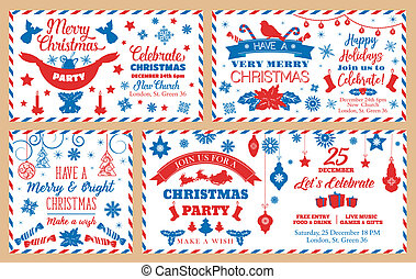 Christmas party envelopes, holiday decorations